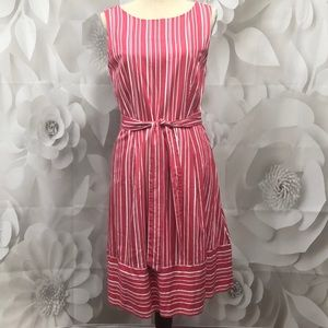 Land' End Red/White Striped Belted Dress 8